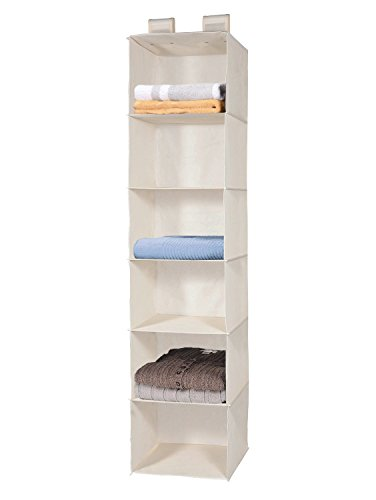 Hanging Closet Organizer, MaidMAX 6-Shelf Collapsible Hanging Accessory Shelves with 2 Widen Velcros for Clothes and Shoes Storage for Gift, Beige