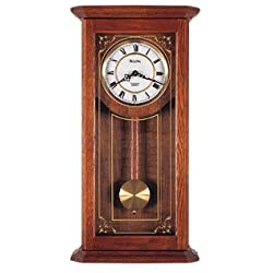 Cirrus Wall Clock in Solid Oak Case w Metal Dial - Bulova
