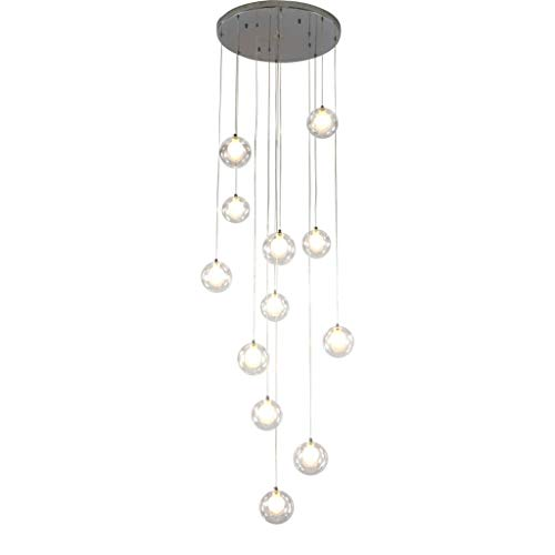 Duplex Apartment Stairs Long Chandelier, 12/15/18 Glass Ball Staircase Chandeliers Multi Lights Creative Villa Pendant Light (Color : Warm Light, Size : 18 Heads)