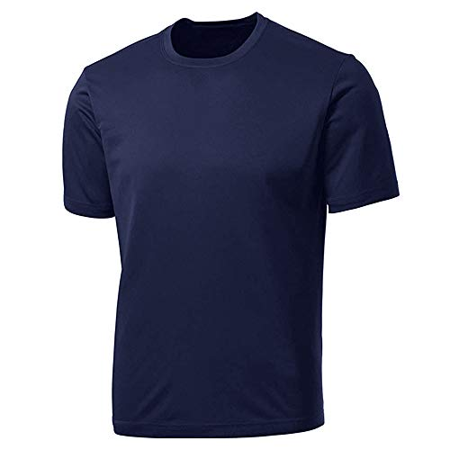 Pioneer Camp Men's Quick Dry Moisture-Wicking Active Athletic Performance Crew Mesh T-Shirt Navy Blue