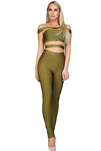 OUR WINGS Women Olive Off The Shoulder Bandage Jumpsuit L by OUR WINGS