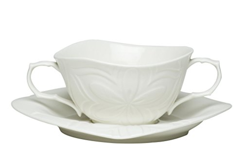 White Soup Cup with 2 Handles/Square Saucer Set, of 6, 16 oz (Two Handle Soup Mug)