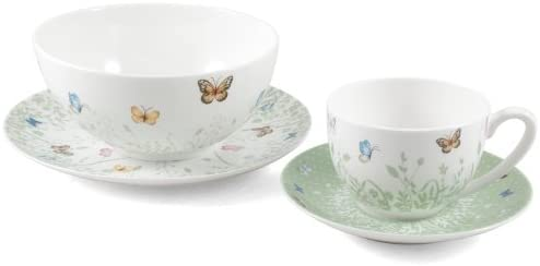 Ashdene Tranquil Butterfly Sage Bone China 4 Piece Sage Breakfast Set Includes Tea Coffee Cup Saucer Cereal Fruit Bowl And Side Plate Despaarthiman