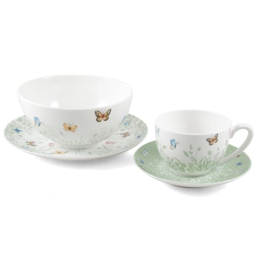 Ashdene Tranquil Butterfly Sage Bone China 4 Piece Sage Breakfast Set includes Tea/Coffee Cup & Saucer, Cereal/Fruit Bowl and Side Plate