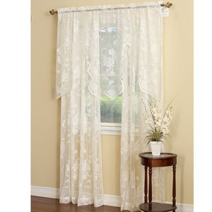 Ivory Rose Floral - Abbey Rose Floral Lace Curtain (Ivory, 50