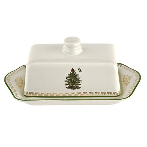 """Spode Christmas Tree Gold Covered Butter 8"""""""