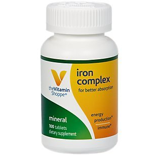 The Vitamin Shoppe Iron Complex, for Better Absorption, Supports Immune Health Energy Production, Essential Mineral, Once Daily (100 Tablets)