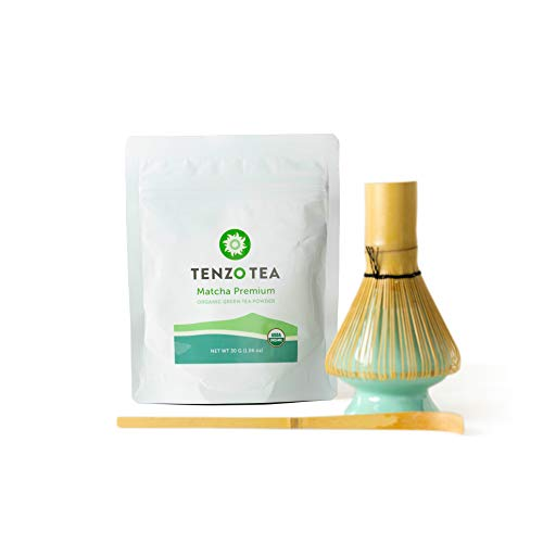 Tenzo Tea - Premium Starter Kit (Ceremonial Grade Matcha) - Whisk, Whisk Stand, Scoop, Matcha - USDA Organic, Kosher, Vegan, Paleo/Keto Friendly (30 Gram - Starter Kit)