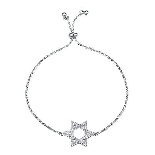Suplight Star of David Chain Bracelet Fully Adjustable Hexagram Magen David Bracelet Jewish Link Charm Bracelet