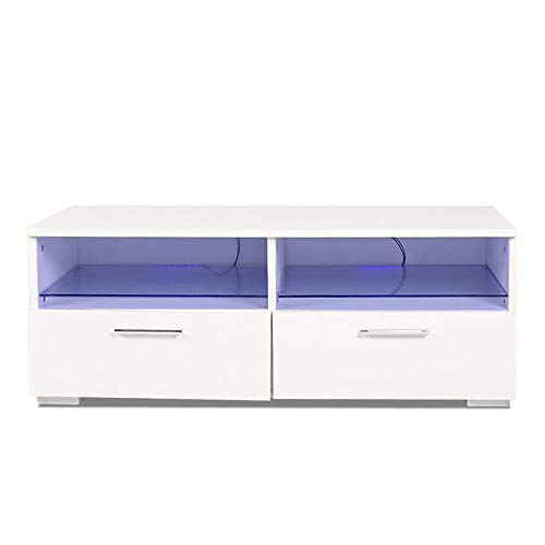 Thaweesuk Shop White 39'' TV Stand Unit Cabinet 2 Drawers Console Storage White Home Furniture Wood MDF Chipboard 13.7