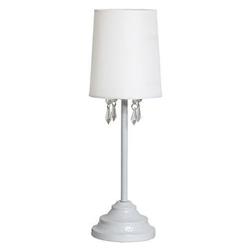 Wht White Crystal - Simple Designs Home LT3018-WHT Stick lamp, White