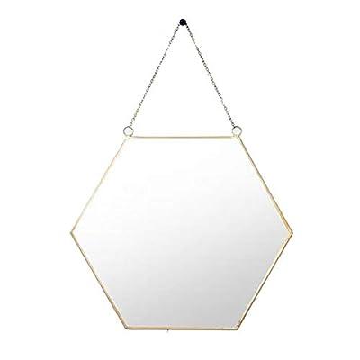 BEACH'D Hexagon Copper Wall Mirror with Chain