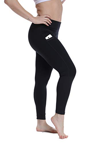 (YOHOYOHA Plus Size Leggings High Waist Athletic Workout Yoga Pants Pockets Women's Tummy Control Best Thick Long XL 2X 3X 4X Black)