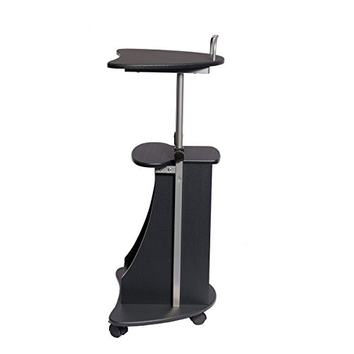 Sit-to-Stand Rolling Adjustable Height Laptop Cart With Storage - Graphite