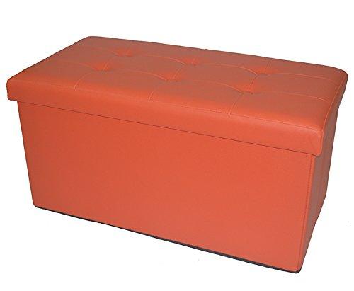 Fsobellaleo Faux Leather Folding Storage Ottoman Footrest Stool Shoe Bench Tea Table Orange 30'X15