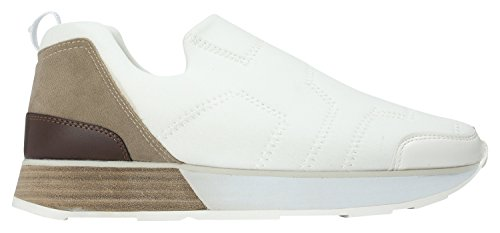 Annakastle Womens Stretch Neoprene Low-top Sneaker Comfort Slip On White