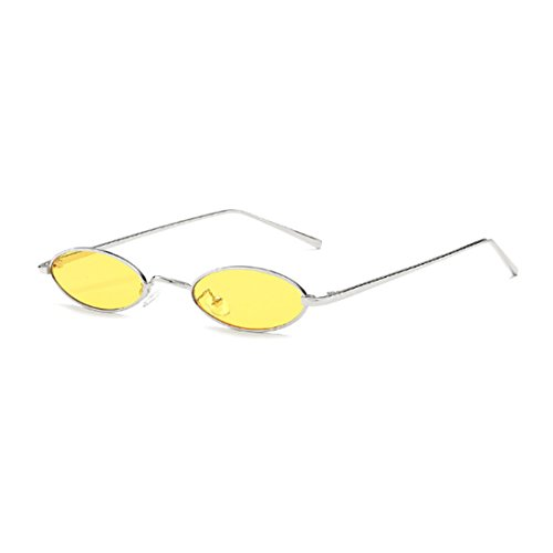 Inlefen Frame couleurs Slender lunettes petites Vintage Unisexe Candy ovales soleil de Jaune lunettes Argent Metal rHFzrxfwq