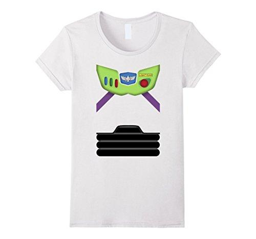 Womens Disney Pixar Toy Story Buzz Lightyear Suit Costume T-Shirt Large White -