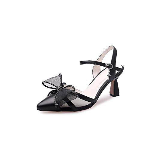 XLY Women's Genuine Leather Pointed Toe Sandals, Ankle Strap Lovely Bowknot with Rhinestones Dress Sandals Shoes,Black,40