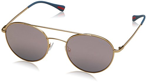 Prada Linea Rossa  Men's 0PS 51SS Matte Gold/Dark Grey Mirror Pink - Prada Sunglasses Pink