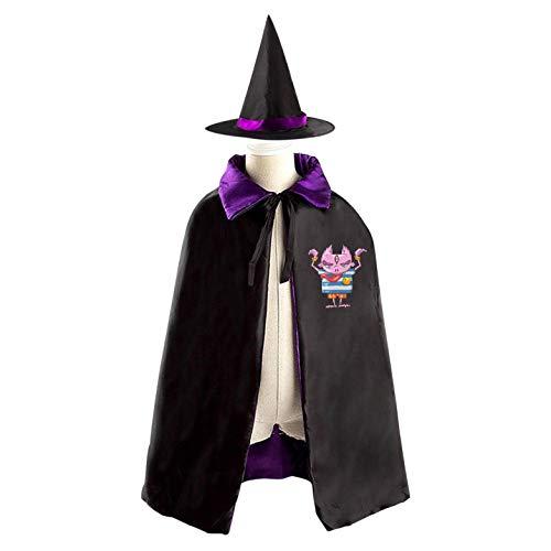 69PF-1 Halloween Cape Matching Witch Hat Long Tongue Monster Wizard Cloak Masquerade Cosplay Custume Robe Kids/Boy/Girl Gift Purple
