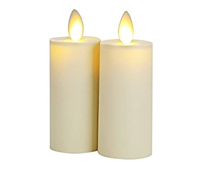 HueLiv Real-Flame Effect Classic Votive Candles, 1.75''x3'', Battery Operated, with Remote Control and Timer, Ivory White, Set of 2