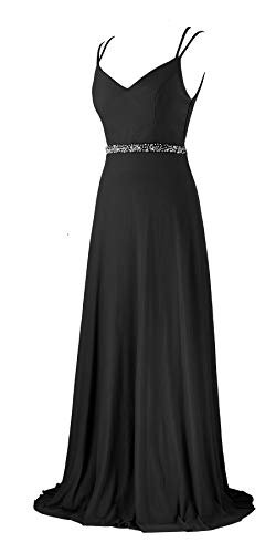 - Women Prom Dresses Deep V Neck Beaded Double Spaghetti Straps Backless Maxi Party Evening Dress (7615 Black, M)