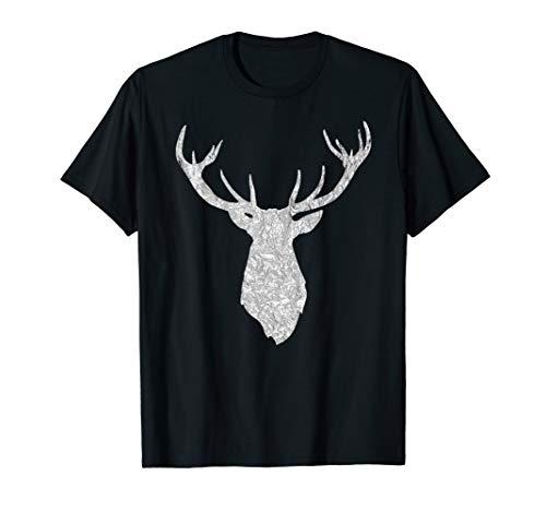 Buck Stag Deer Head Antlers Silver Silhouette T Shirt (Antlers Deer Silhouette)