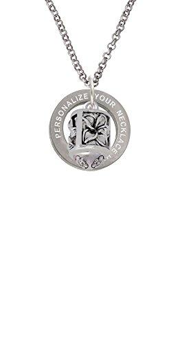 (Antiqued Plumeria Flowers Spinner Custom Engraved Affirmation Ring Necklace)