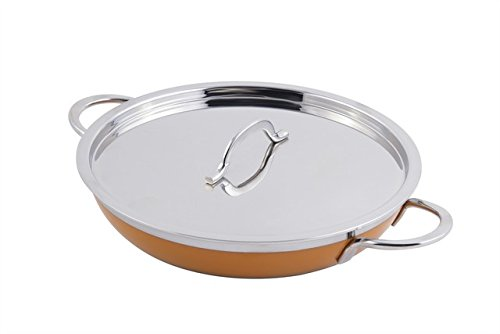 Bon Chef 60305ORANGE 11 x 2.25 in. Classic Country French Collection Saute 2 quart Pan & Skillet with Cover Double Handle44; Orange - 12 oz by Bon Chef (Image #1)