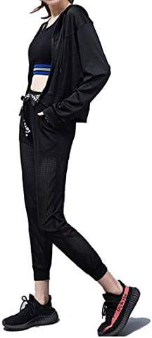 ホットヨガスーツ - レディースメッシュ通気性ズボン+フード付き長袖シャツ+スポーツブラジャー、ジムだぶだぶカジュアルスポーツ3ピース長袖