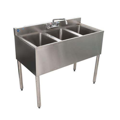 Stainless Steel Commercial Three Compartment Under Bar Sink 19 x 36