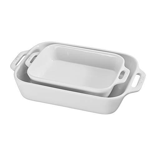 - Staub 40508-626 Ceramics Rectangular Baking Dish Set, 2-Piece, White