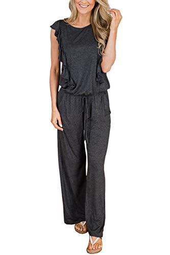 Fixmatti Women Sleeveless Ruffles Wide Leg Palazzo Pant Romper Jumpsuit Grey ()