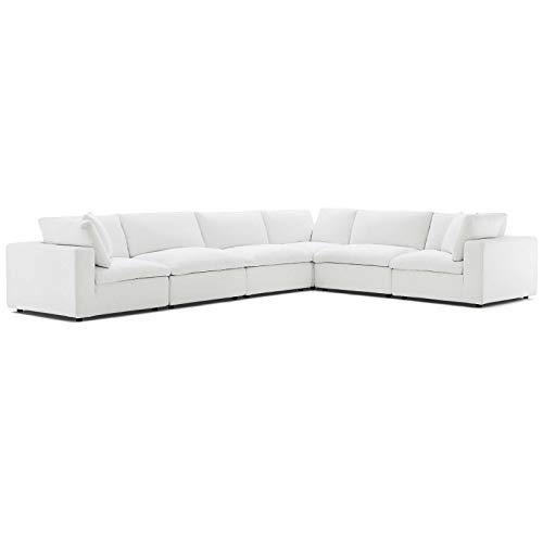 Modern Contemporary Urban Design Living Room Lounge Club Lobby Sectional Sofa Set, Fabric, White