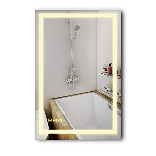 B C Danube Super Slim Bathroom Mirror 24 x36 Vertical or Horizontal LED Backlit Polished Edge Frameless Defogger Dimmer Touch Switch Copper Free Silver Backed MD042436