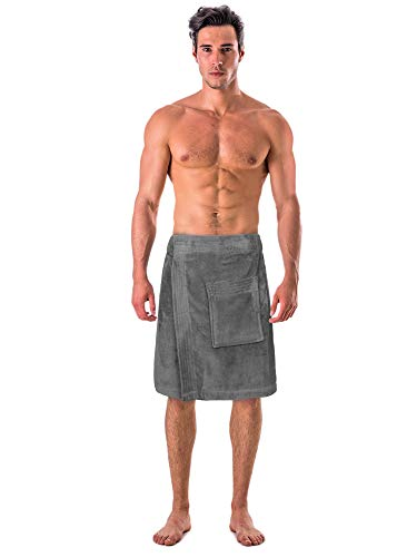 Turkish Cotton Terry Velour Adjustable Body Wrap Towel for Men (Gray, One Size)