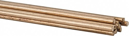 36 Inch Long, 3/32 Inch Diameter, Bare Coated, Low Fuming Bronze, TIG Welding and Brazing Rod 1 Lb, Industry Specification RBCuZn-C, 1 Pound Tube