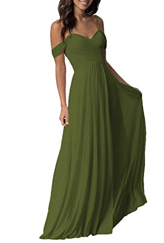 Women's Wedding Bridesmaid Dresses Cold Shoulder Long Maxi Formal Evening Dress Olive Green