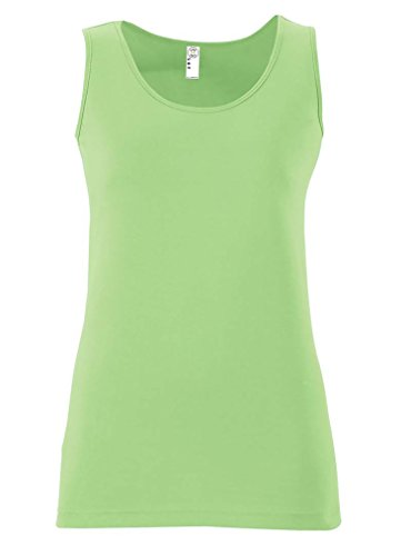 - LAT Apparel Ladies Junior Fit Longer Length 100% Cotton Fine Jersey Tank Top [Medium} Key Lime Green Sleeveless Tee