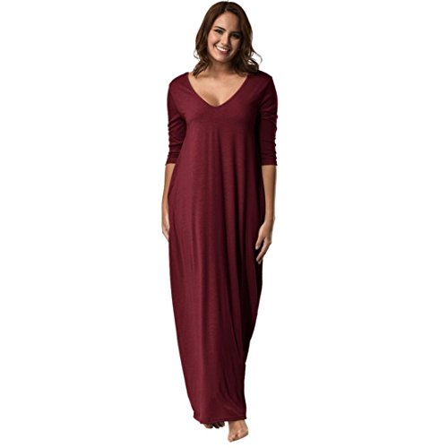 Boomboom Autumn Winter Women Plus Size V-Neck Casual Long Dress (XXL, Red)