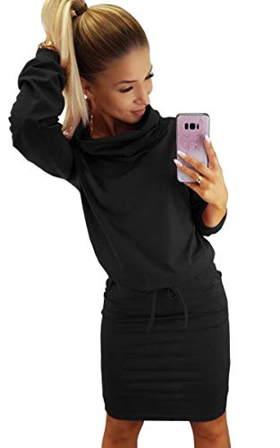 - Hibluco Women's Cowl Neck Long Sleeve Slim Pencil Belted Dress with Pockets Black