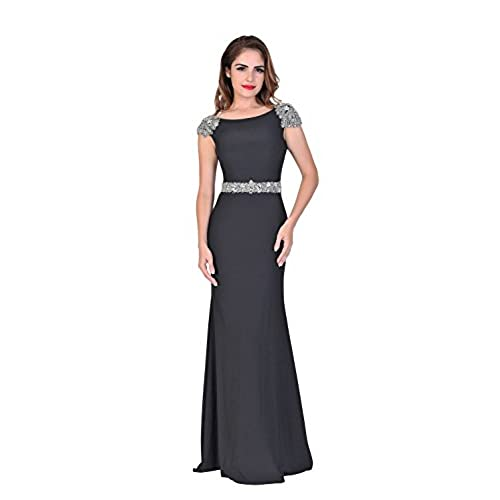 Chic Belle Women Sleeveless Backless Long Beaded Evening Gown Prom Dresses 2016 8
