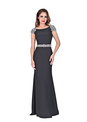 Chic Belle Cap Sleeve Long Prom Dresses Beading Evening Gowns US Size 12