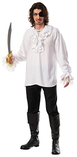 Colonial Pirate Costumes (Rubie's Costume Co pirate shirt with lace-up ruffled neckline, White, Standard)