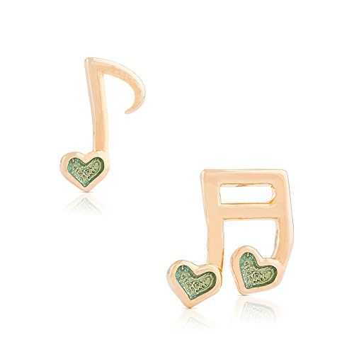 Jewelry for Girls - Musical Note Stud Earrings - 18k Gold Plated with Green Enamel - By Lily Nily