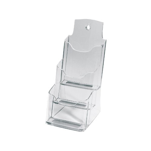 Sigel LH133 Table-Top Literature Holder acrylic, with 3 compartments, clear, for DL (Halloween Tabletop)