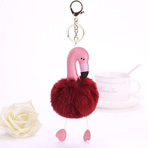 Amazon.com: Rarido Flamingo Pompon Fluffy Porte Clef Pompom ...