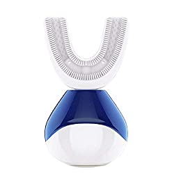 Electric Rechargeable Toothbrush Ultrasonic 360 Automatic Degree U Type Toothbrush Heads Whitening Toothbrush, Wireless Charging Dock, Blue&White