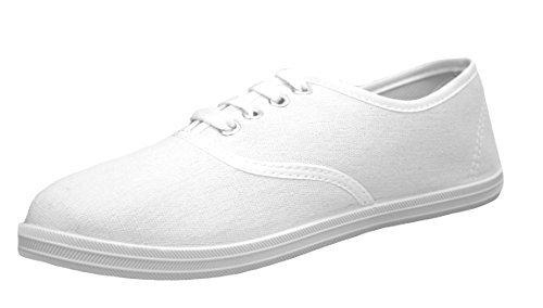 Jeffrey D Original Women's Lace up Canvas Casual Basic Athletic Shoe Sneakers (8, White) (Shoes Basic Canvas)